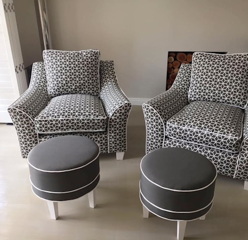 OUTSIDERS Prism Fabric Designer Chairs with Occasional Ottomans: modern Living room by Blake Matthew Design