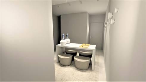 Projecto requalificação Apartamento Braga, parceria Distanciangular   : Corredores e halls de entrada  por Equevo - Interiores Design