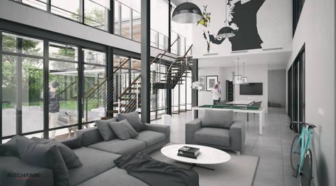 บ้านขนาด1ครอบครัวเล็กสำหรับคู่แต่งงานใหม่ สไตล์ลอฟท์และโมเดิร์น ที่จ.นครศรีธรรมราช :  ห้องนั่งเล่น by Autchawin Architect Co., Ltd.