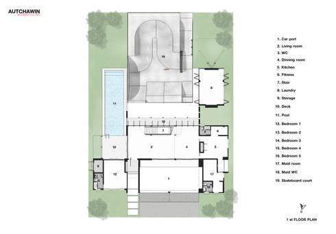 1st floor:   by Autchawin Architect Co., Ltd.