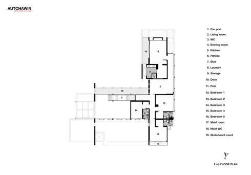2nd floor:   by Autchawin Architect Co., Ltd.