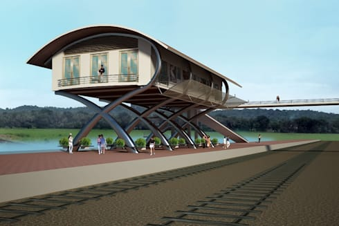 Commuters Court for Karmali Railway Station, Karmali, Goa.: modern Houses by SILVERFERNS DESIGN INNOVATION