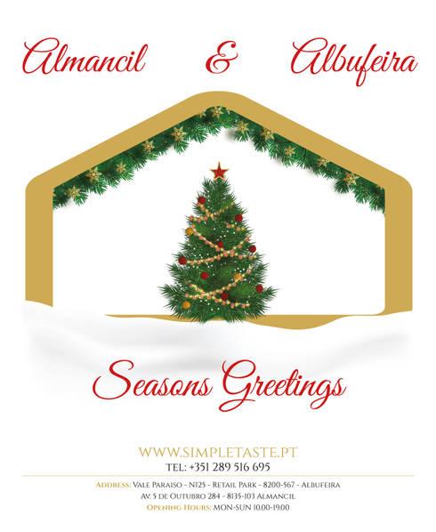 Seasons Greetings from us: Escritórios e Espaços de trabalho  por Simple Taste Interiors