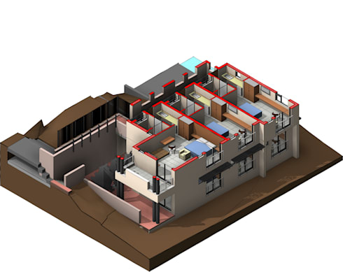 3D View - First Floor Plan:   by Architects Unbound (Pty) Ltd.
