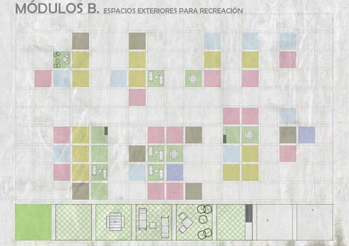 Unidades Mínimas Habitables: Terrazas de estilo  por gOO Arquitectos
