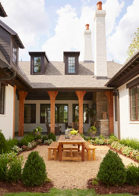 Brick and Stone Cottage :  Garden by Christopher Architecture & Interiors