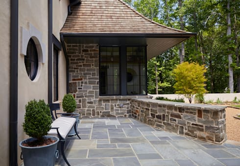 French Normandy Indian Springs Home:  Patios & Decks by Christopher Architecture & Interiors