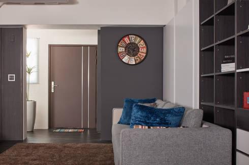 訂製溫暖工業宅,成就單身男子的自在空間:  走廊 & 玄關 by 合觀設計