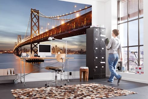 Papel de parede Wallpaper www.intense-mobiliario.com  BAY BRIDGE intense-mobiliario.com/pt/fotomurais/4878-fotomural-bay-bridge.html: Casa  por Intense mobiliário e interiores;