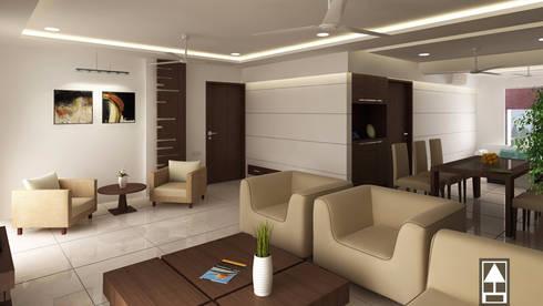 MODERN LIVING DESIGN: modern Living room by ABHISHEK DANI DESIGN