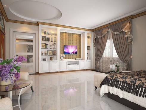 งานออกแบบห้องนอน และห้องทำงาน บ้านคุณ เกรียงไกร / ระยอง:  ตกแต่งภายใน by SDD Design