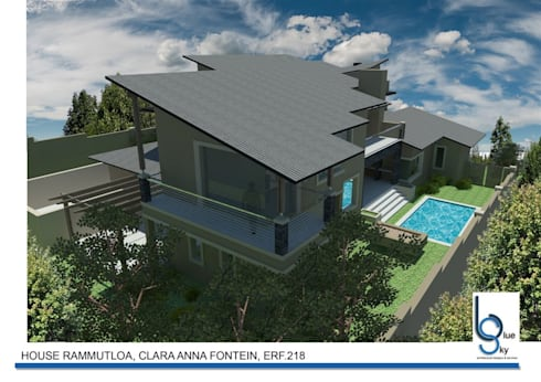HOUSE RAMMUTLOA—Clara Anna Fontein Estate, New house 520sqm :   by BLUE SKY Architecture