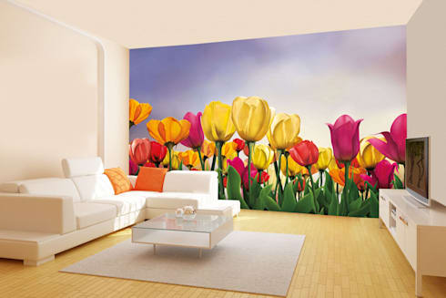 Floral wallpaper designs for livingroom and bedroom using easily removable wallpaper. Walls and Murals: modern Bedroom by wallsandmurals
