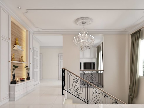 รับออกแบบ สร้างบ้าน และตกแต่งภายใน:  บันได โถงทางเดิน ระเบียง by LOFTTID DESIGN