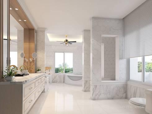 รับออกแบบ สร้างบ้าน และตกแต่งภายใน:  ห้องน้ำ by LOFTTID DESIGN