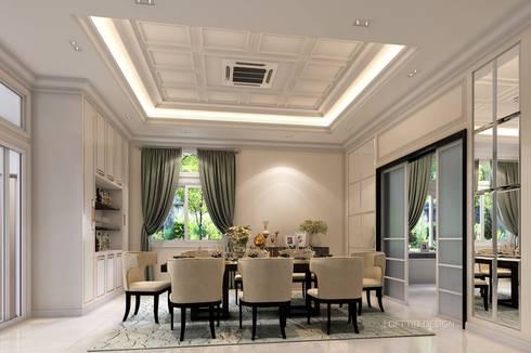 รับออกแบบ สร้างบ้าน และตกแต่งภายใน:  ห้องทานข้าว by LOFTTID DESIGN