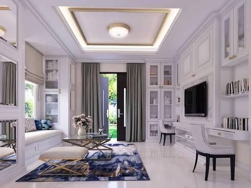 รับออกแบบ สร้างบ้าน และตกแต่งภายใน:  ห้องนั่งเล่น by LOFTTID DESIGN