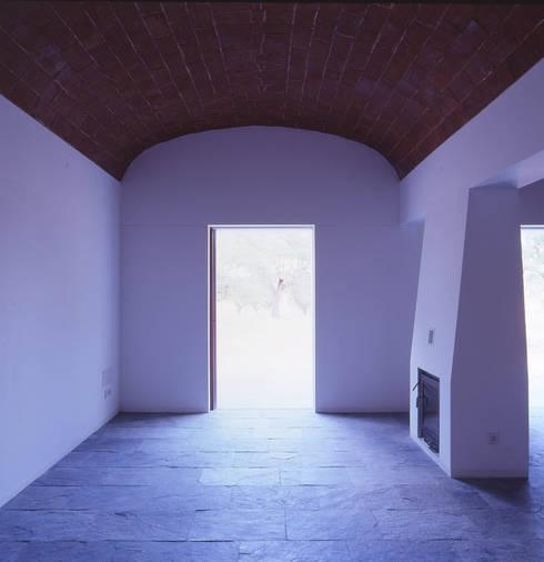 House in Pavia: Salas de estar mediterrânicas por Pedro Mendes Arquitectos