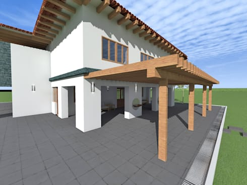 Vista fachada: Casas de estilo rústico por ROQA.7 ARQUITECTOS