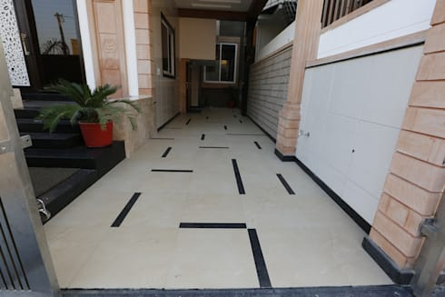 Random Porch Flooring: modern Garage/shed by RAVI - NUPUR ARCHITECTS