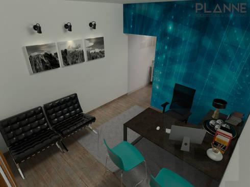 Meu Universo Virtual - Recepção: Lojas e espaços comerciais  por Planne Arquitetura & Urbanismo