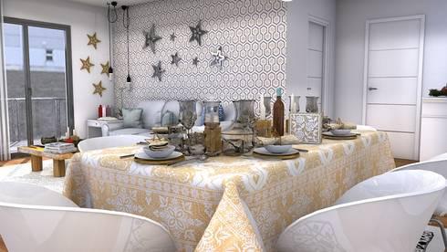 Christmas living room: Comedores de estilo moderno de Blophome