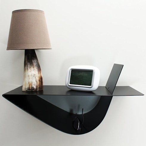 trendy chevet suspendu zen noir symtrique chambre de style. Black Bedroom Furniture Sets. Home Design Ideas