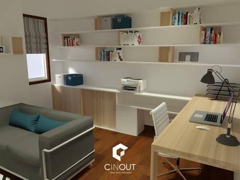 Escritório Apartamento: Escritórios e Espaços de trabalho  por CINOUT - Obras, Design e Manutenção Lda.