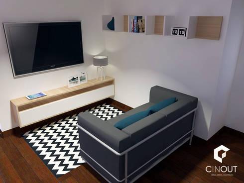 Escritório Apartamento: Salas de estar modernas por CINOUT - Obras, Design e Manutenção Lda.