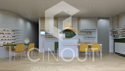 Projecto Óptica: Espaços comerciais  por CINOUT - Obras, Design e Manutenção Lda.