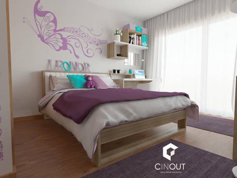Remodelação de Quarto Infantil: Quartos modernos por CINOUT - Obras, Design e Manutenção Lda.