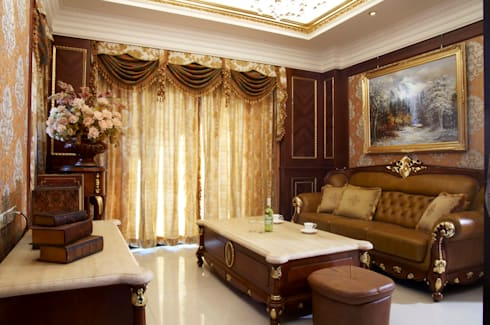 歐式古典建築及室內設計家具配置:  客廳 by 傑德空間設計有限公司