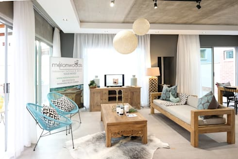 The Sheds Waterfall Estate, Midrand: modern Living room by Melonwoods Indonesian Furniture