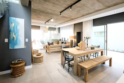 The Sheds Waterfall Estate, Midrand: modern Dining room by Melonwoods Indonesian Furniture