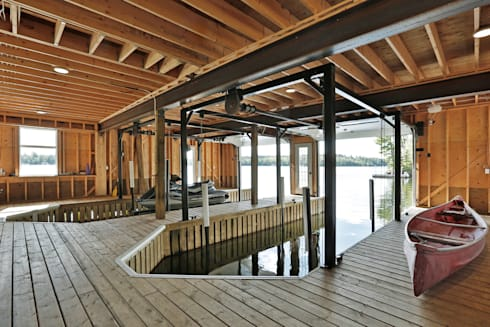 Lake of the woods cottage boat house : modern Houses by Unit 7 Architecture