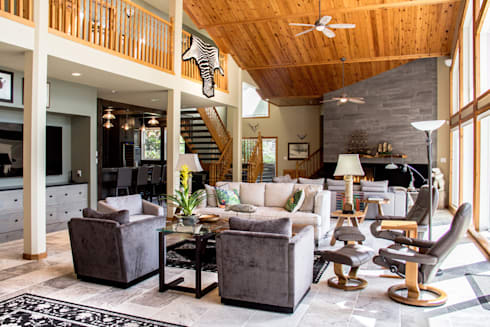 Lake of the woods cottage living room: modern Living room by Unit 7 Architecture