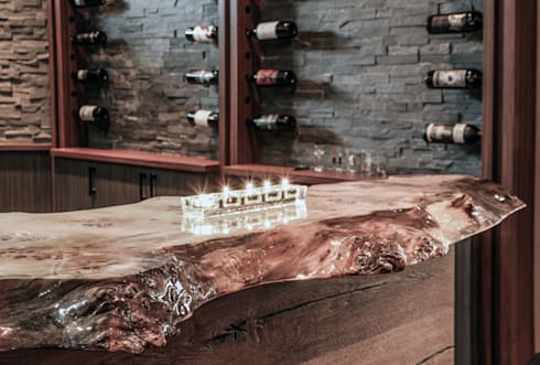 Live edge bar top: industrial Living room by Unit 7 Architecture