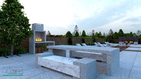 Ambiente Residencial – Exterior: Varanda, marquise e terraço  por Distone