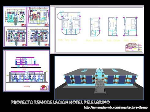 """Remodelación  """"Hotel Pellegrino"""":  de estilo  por A.M. ARQUITECTURA +DISEÑO"""