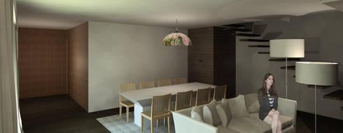 Casa Guilhovai: Salas de jantar modernas por OPUS - MATER