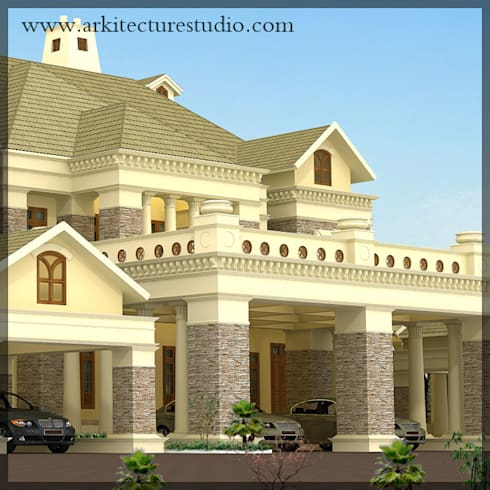 Colonial style luxury indian home design leading for Colonial luxury house plans
