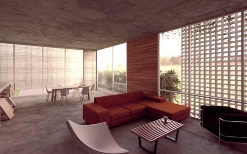 Casa Orta: Salas de estilo minimalista por Lozano Arquitectos