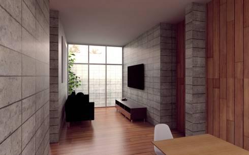 Casa Orta: Salas multimedia de estilo minimalista por Lozano Arquitectos