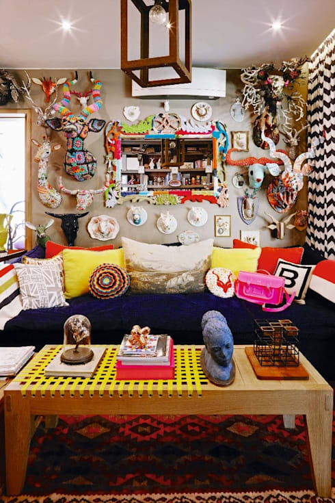 VISI 84 July Feature 2016: eclectic Media room by The Painted Door Design Company