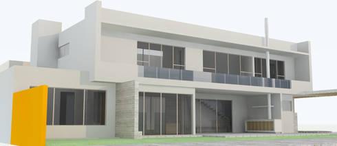 FACHADA SUR PONIENTE: Casas de estilo minimalista por HERNANDEZ ARQUITECTOS