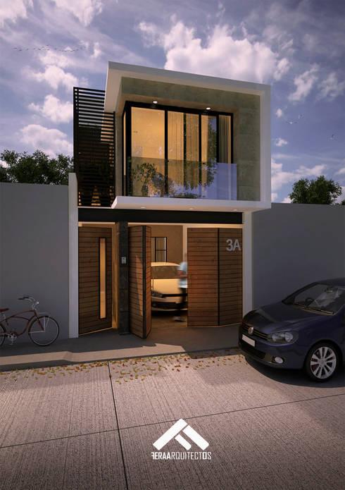 FACHADA PPAL: Casas de estilo moderno por FERAARQUITECTOS