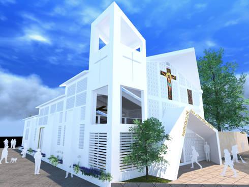 PARROQUIA SAN JUAN BAUTISTA: Casas de estilo moderno por DINÁMICA ARQUITECTURA