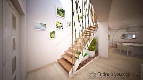 Clean and soft room: Corredores e halls de entrada  por Andreia Louraço - Designer de Interiores (Contacto: atelier.andreialouraco@gmail.com)