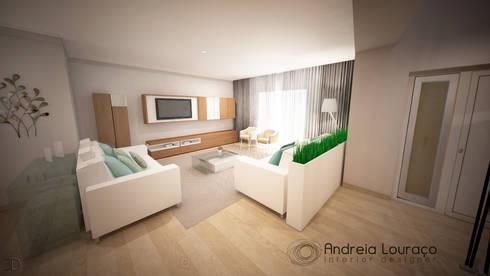 Clean and soft room: Salas de estar modernas por Andreia Louraço - Designer de Interiores (Contacto: atelier.andreialouraco@gmail.com)