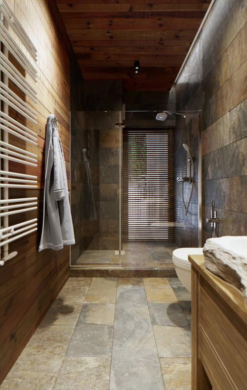Загородная резиденция шале Ak Bulak 02: Ванные комнаты в . Автор – ATO Studio